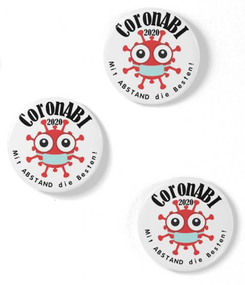 3 Buttons 59mm CoronABI 2020 Mit ABSTAND die Besten - Corona Abitur Matura