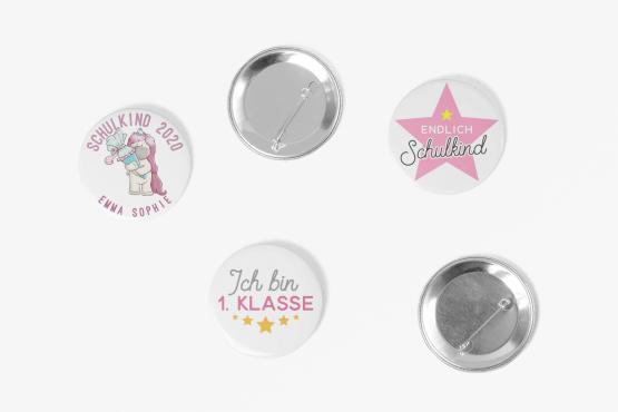 3er Set Schulkind 2021 Buttons Girls Einhorn 59mm Ansteck-Pin