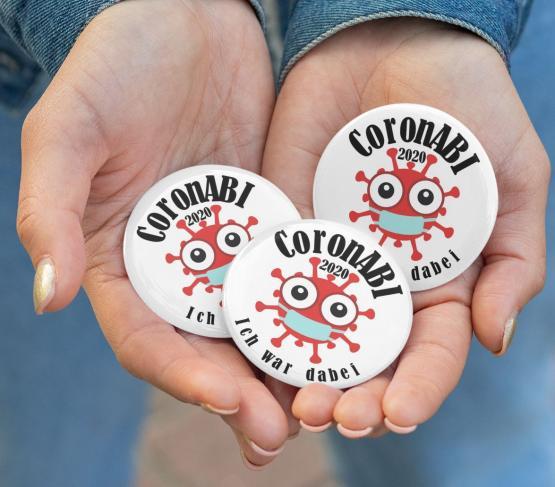 3 Buttons 59mm CoronABI 2020 Ich war dabei - Corona Abitur Matura