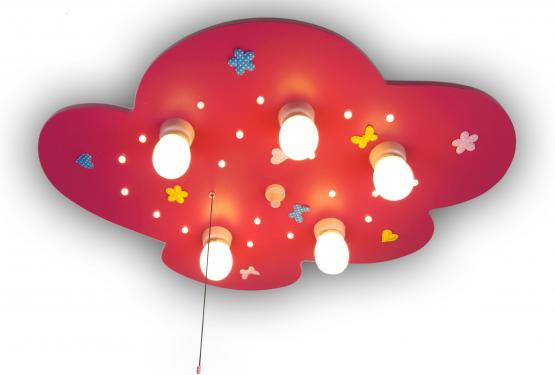Niermann Deckenlampe Wolke mit Blumenwiese, magenta