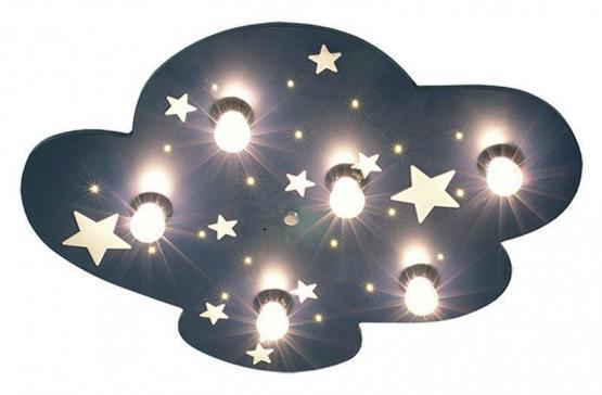 Niermann Deckenlampe Wolke XXL mit fluoriszierenden Sternen dunkelblau
