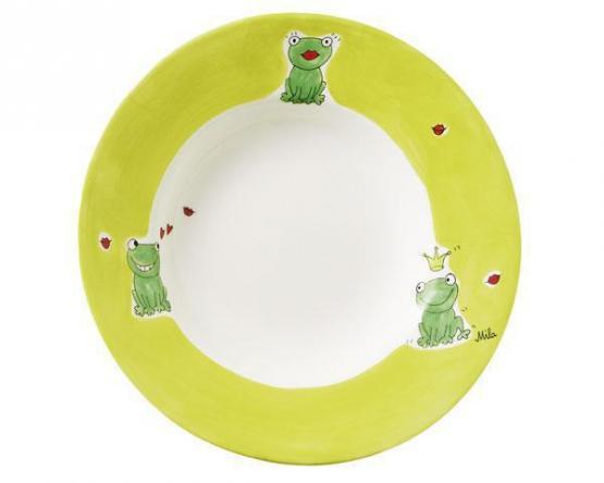 Mila Keramik Suppenteller Kiss me grün