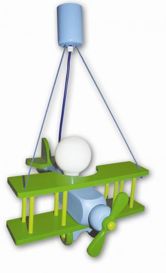 Waldi Pendelleuchte Flugzeug grün/blau groß