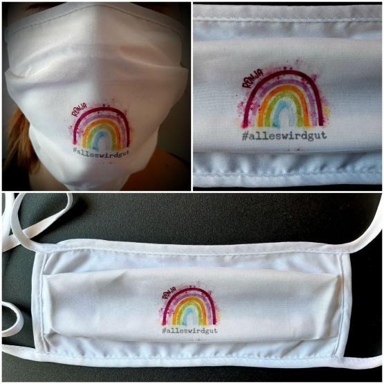 Funktions-Alltagsmaske Regenbogen mit Namen
