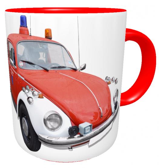 Kaffeetasse Feuerwehrauto Oldtimer VW Käfer mit Namen des Feuerwehrmanns