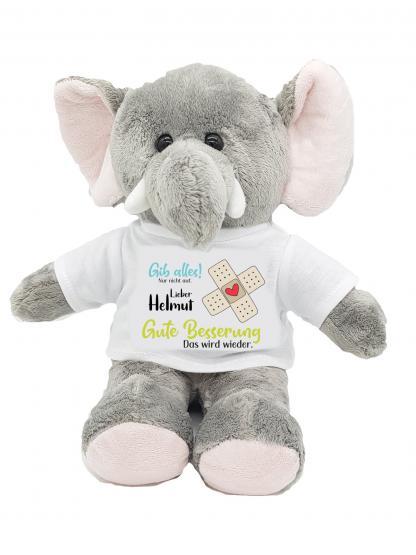 Gute Besserung Kuscheltier Elefant Gib allles mit Wunschname personalisiert