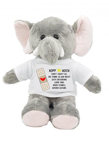 Gute Besserung Kuscheltier Elefant Kopf hoch mit Wunschname personalisiert