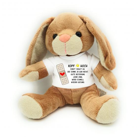 Gute Besserung Kuscheltier Hase  Kopf hoch mit Wunschname personalisiert