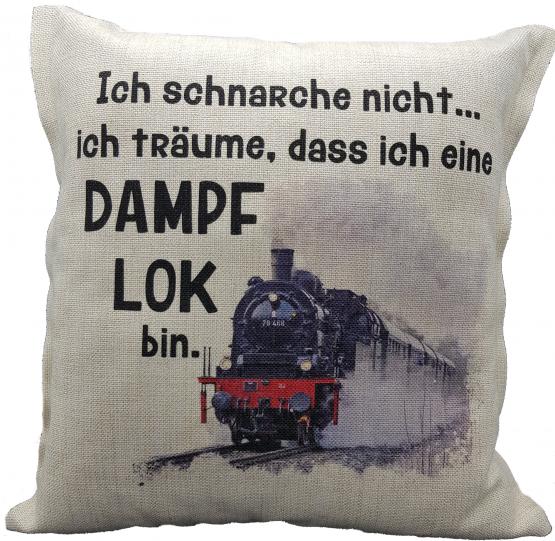 Anti-Schnarch Kissen Lokomotive Spruch Ich schnarche nicht Geschenk Geburtstag Dampflok-Fans Schnarchen Leinenoptik