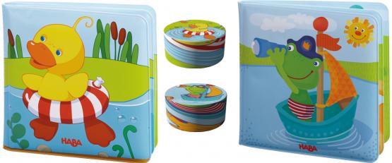 Haba Geschenkset Badebuch Schwimmente Frosch und Zauberhandtücher Ente und Frosch