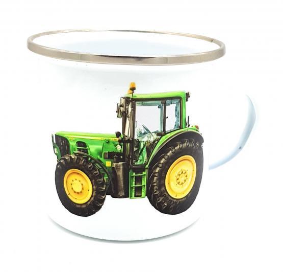 """Blechtasse Traktor im Emaille-Look mit Spruch """"Ein echter Held fährt aufs Feld"""" Traktortasse unkaputtbar"""