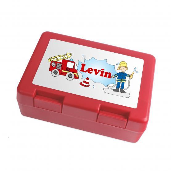Brotdose Feuerwehr mit Wuschnamen personalisiert rot