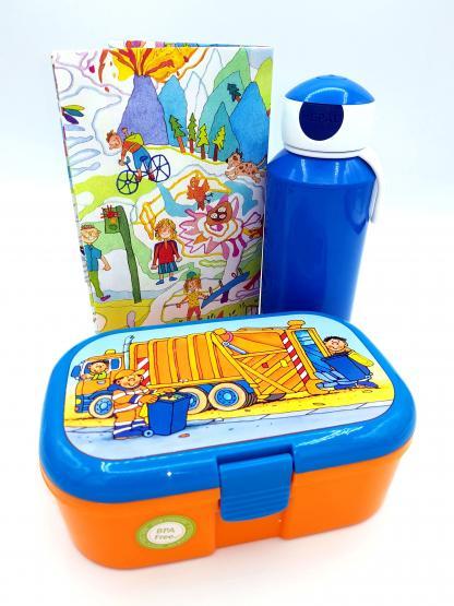Lutz Mauder Lunchbox Müllauto und Mepal Trinkflasche blau