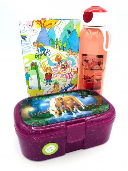 Lutz Mauder Glitzer-Lunchbox Pferd und Mepal Trinkflasche 500 ml