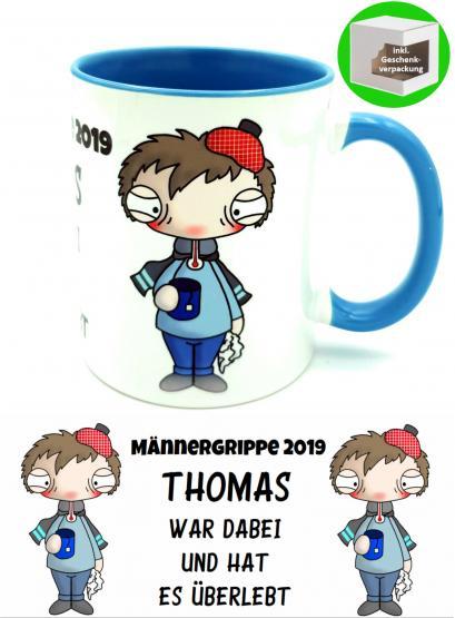Kaffee- oder Tee-Tasse Männergrippe mit Wunschname Gute Besserung