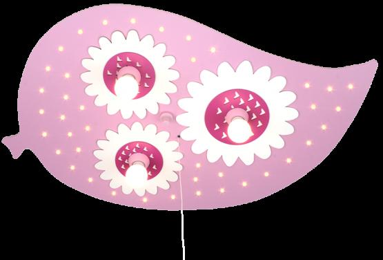 Elobra Deckenleuchte Blatt rosa, 3-flg