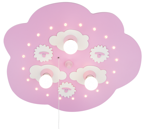 Elobra Schäfchenwolke LED rosa, 3-flg.