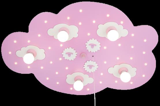Elobra Schäfchenwolke LED rosa, 5-flg.