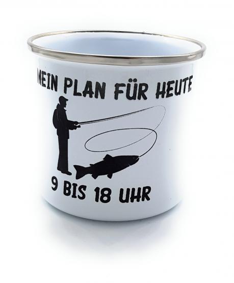 Emaille Kaffeetasse für Angler | Bürotasse Mein Plan für heute | Sprüchetasse