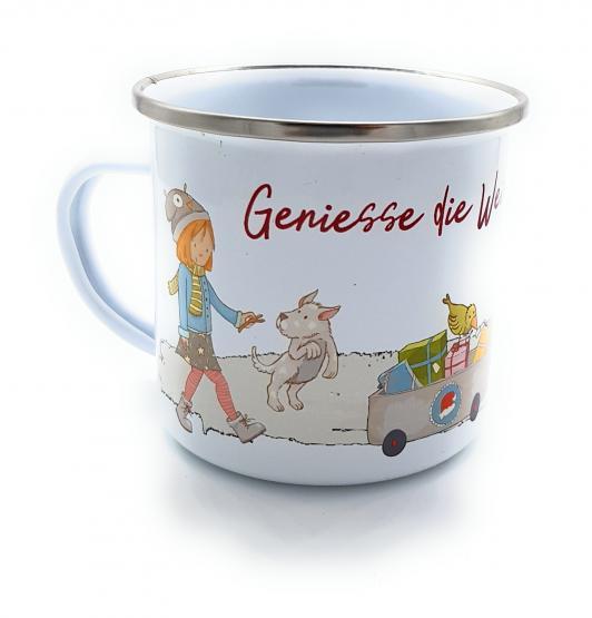 Emaille-Tasse Geniesse die Weihnachtszeit