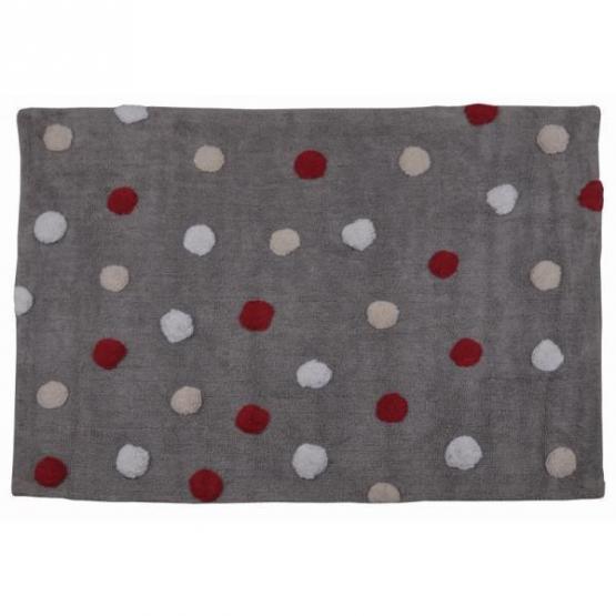 Lorena Canals Kinderteppich Punkte tricolor rot