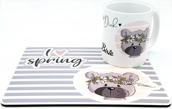Tischset mit Kaffeetasse Frühlingsbär von emma❤pünktchen mit Wunschname