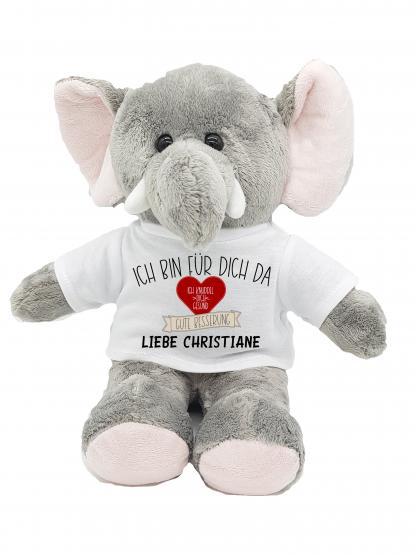 Gute Besserung Kuscheltier Elefant Herz mit Wunschname personalisiert