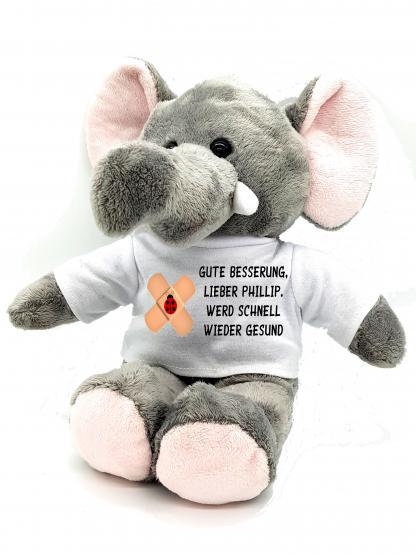 Gute Besserung Kuscheltier Elefant mit Wunschname personalisiert