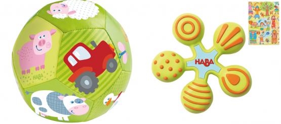 Haba Geschenkset Babyball Auf dem Bauernhof und Greifling Stern