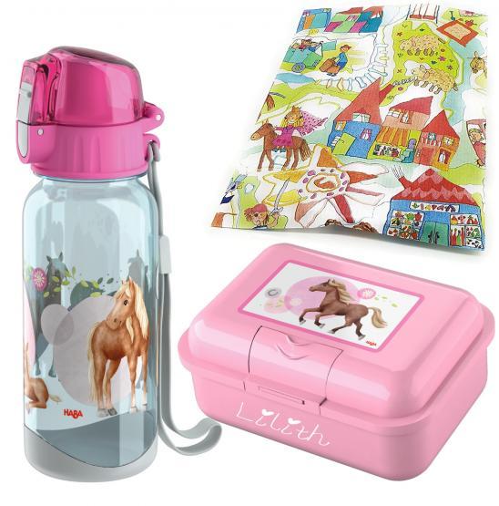 personalisierte Haba Brotdose und Trinkflasche Pferde