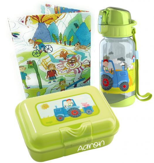 personalisierte Haba Brotdose und Trinkflasche Traktor