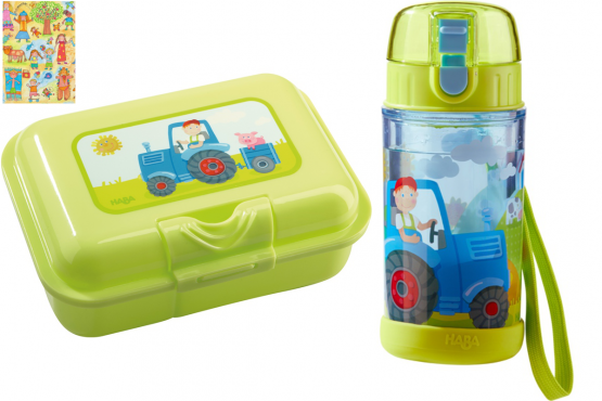 Haba Brotdose und Glitzer-Trinkflasche Traktor inkl. Geschenkverpackung