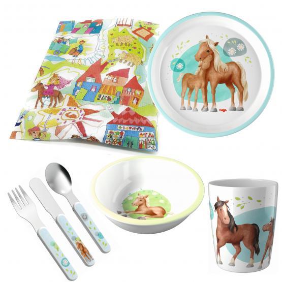Haba Melamin Geschenkset Pferde 4-teilig mit Becher