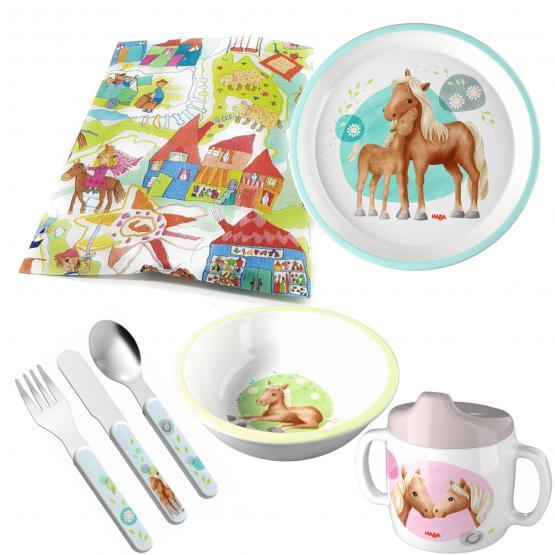 Haba Melamin Geschenkset Pferde 4-teilig mit Trinklerntasse