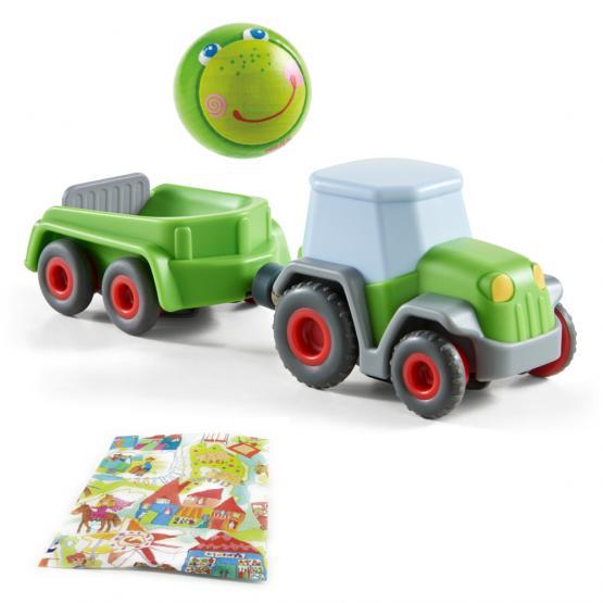 Haba Traktor mit Anhänger und Holzkugel Frosch