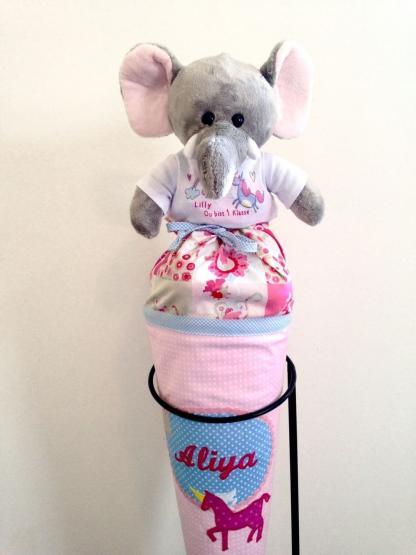 personalisierter Elefant Kuscheltier für die Zuckertüte Schultüte mit Wunschname zur Einschulung Glücksbringer