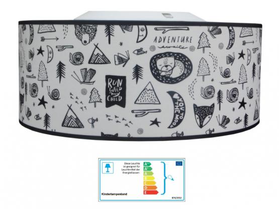 Juuldesign Deckenlampe Tierwelt schwarz/weiß