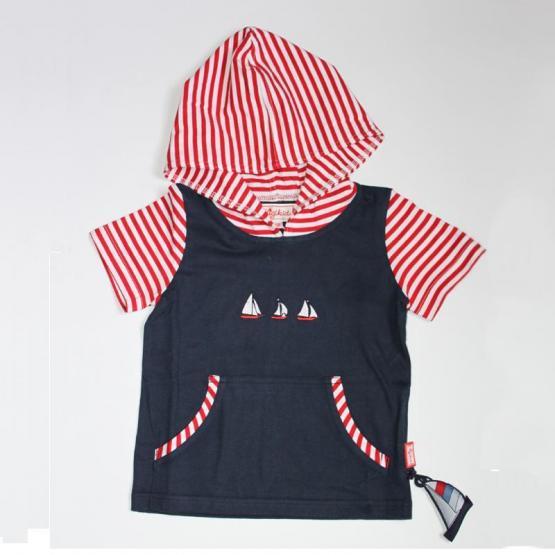 Sigikid T-Shirt mit Kapuze rot-weiß