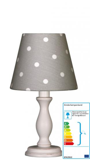 Tischlampe Tupfen grau/weiß klein