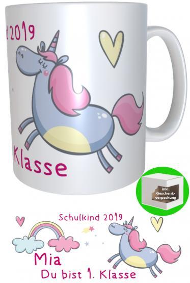 Namens-Tasse Einhorn Schulkind zur Einschulung Mädchen inkl. Geschenkverpackung