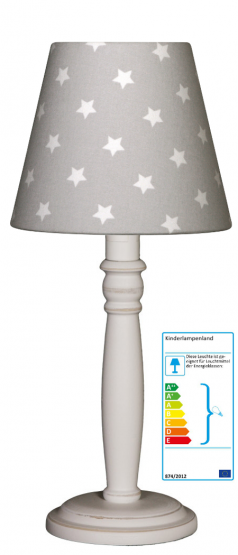 Tischlampe Sterne grau/weiß