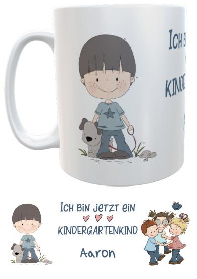 Kindertasse Kunststoff personalisiert Kindergartenkind Jungen emmapünktchen, inkl. Geschenkverpackung