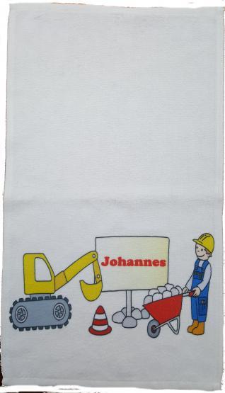 Kinderhandtuch Baustelle  mit Wunschname - personalisiertes Handtuch-Baustelle