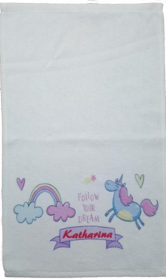 Kinderhandtuch Einhorn  mit Wunschname - personalisiertes Einhorn-Handtuch