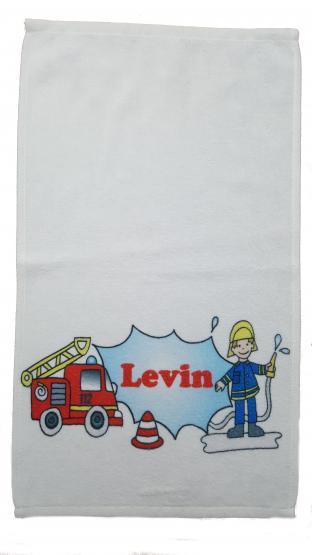 Kinderhandtuch Feuerwehrauto  mit Wunschname - personalisiertes Handtuch-Feuerwehrmann