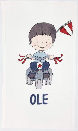 Kinderhandtuch Bikerboy emmapünktchen mit Wunschname - personalisiertes Kindergarten-Handtuch