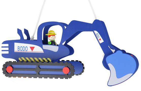 Kinderlampe Bagger blau mit Bodo