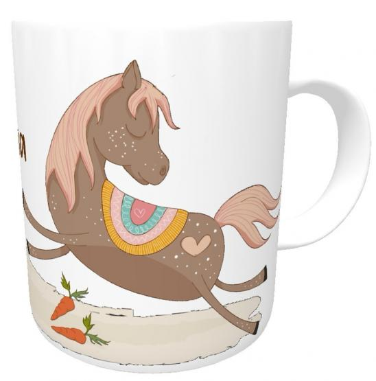 Namenstasse Pferd braun- Kunststofftasse, Kinder