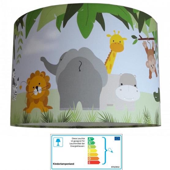 Kinderzimmerlampe Dschungeltiere bunt