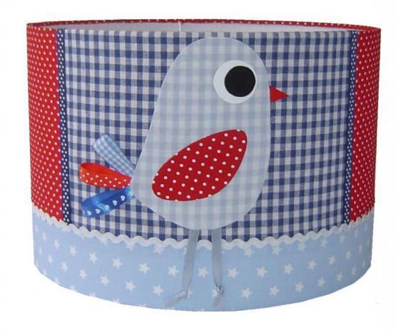 Kinderzimmerlampe Vögelchen rot/blau